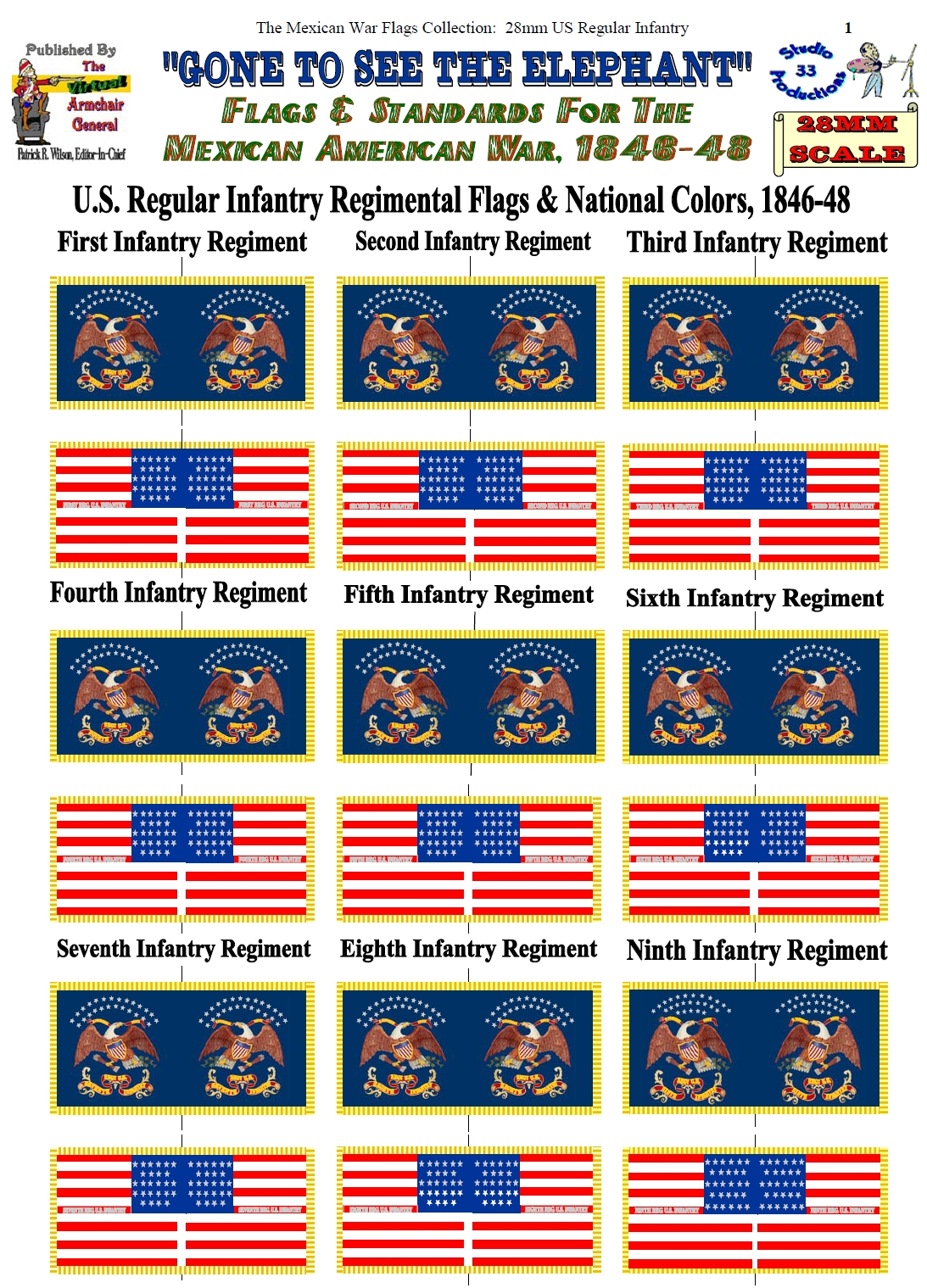 US Infantry Regimental & National Colors (28mm)